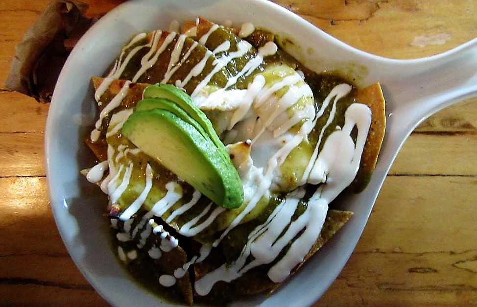 chilaquiles is an awesome choice as a vegetarian in Mexico City.
