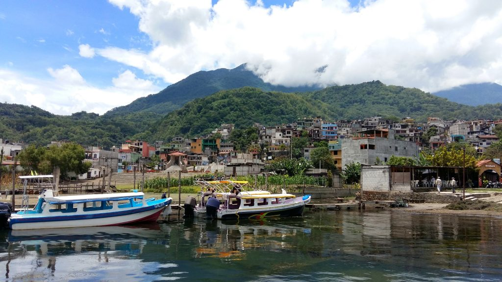 Boats & Santiago in Lake Atitlan Guatemala
