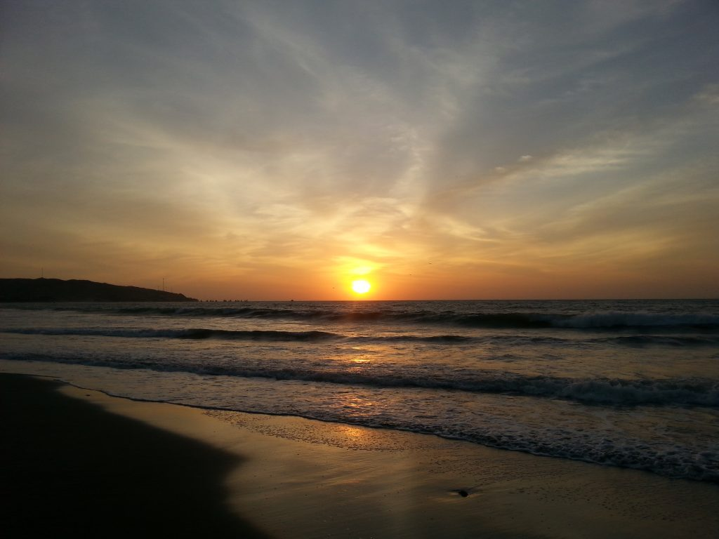Gorgeous sunset on the beach in Mancora Peru
