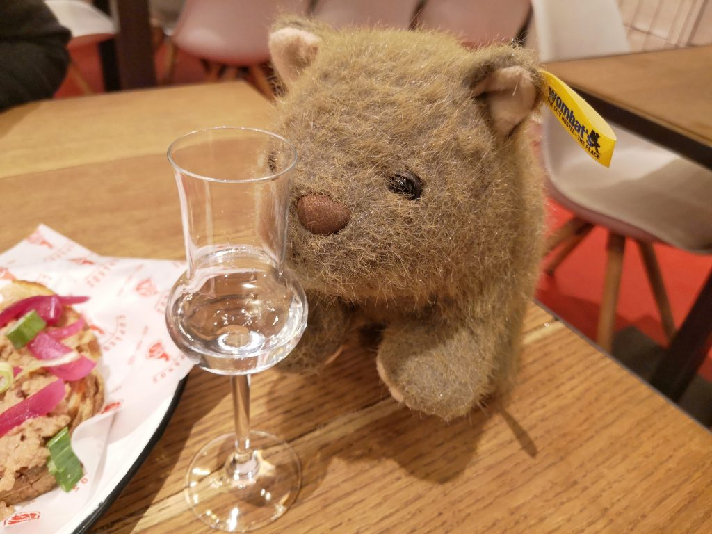 A shot of Palinka for Wagner Wombat on our Budapest Wine Tasting Tour