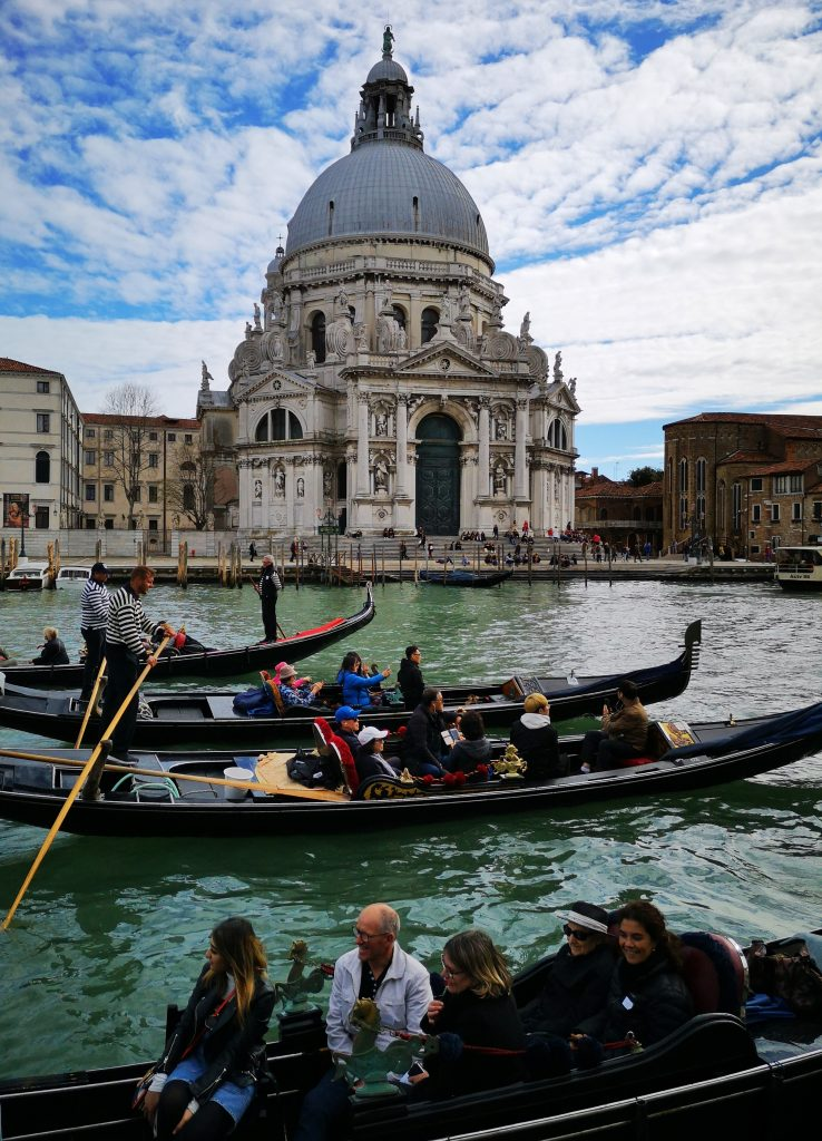 Lots of Gondolas near the Basilica di Santa Maria della Salute