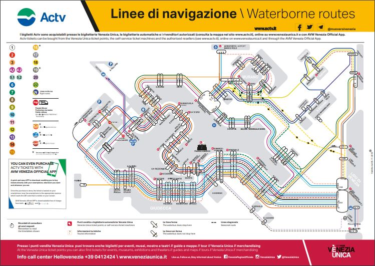 ACTV Venice Vaporetto Route Map