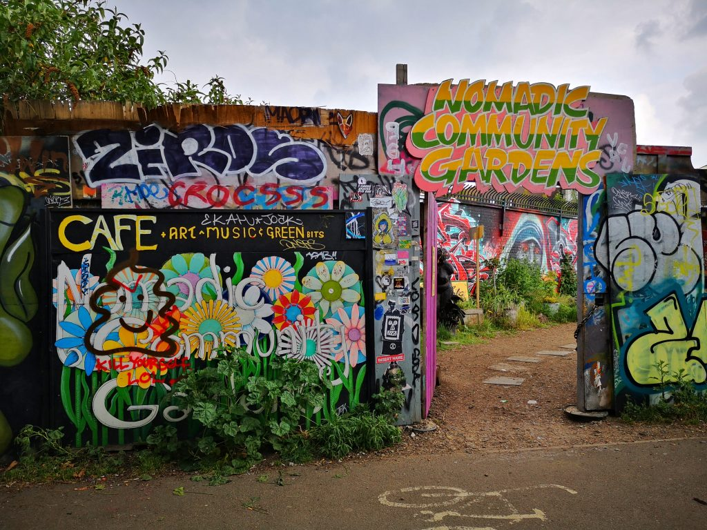 The Entrance to Nomadic Community Gardens - Brick Lane Street Art Tour in Shoreditch