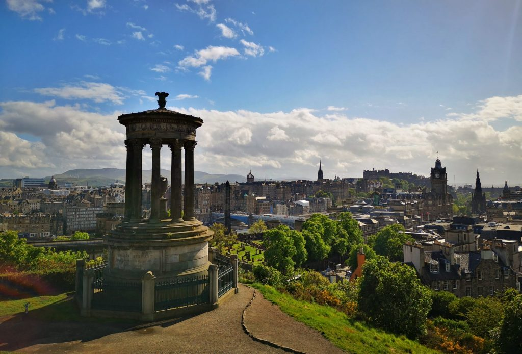 The View from Calton Hill in Edinburgh - Monument with the Edinburgh Skyline