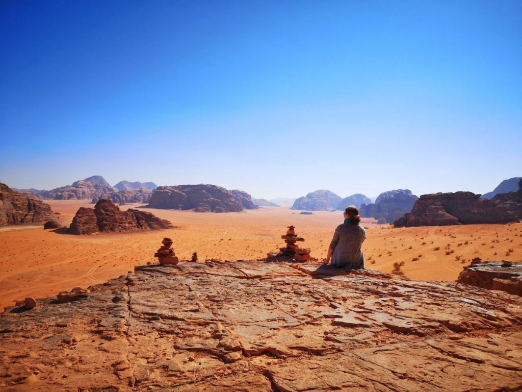 Admiring the view in Wadi Rum Desert