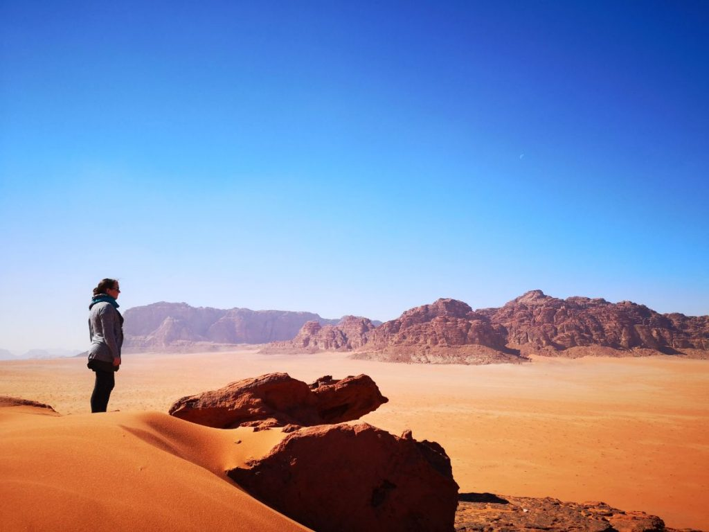 Looking out at the Wadi Rum desert