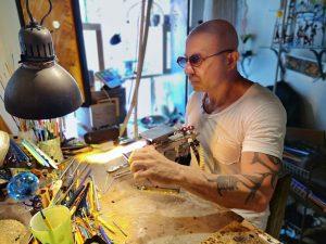 Massimiliano Calderone in his workshop - Make your own Venetian Glass Jewellery in Venice