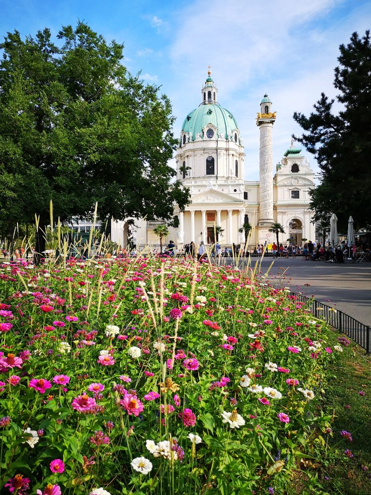Pretty gardens in front of Kalrskirche in Vienna