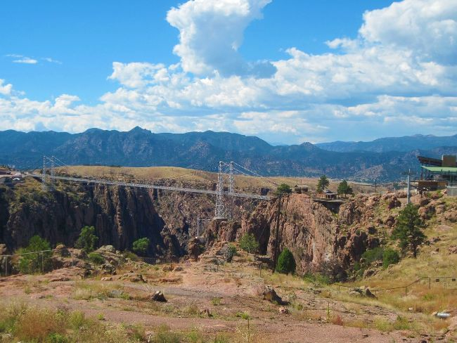 A large suspension bridge over a gorge - Royal Gorge Bridge - Things to do in Colorado Springs in Winter