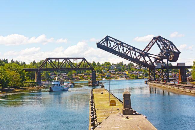 Ballard Locks on a summer day in Seattle.