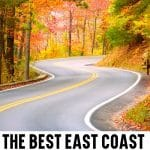 Text at bottom: The Best East Coast Road Trips in the United States with image of a winding road through a forest in the autumn.